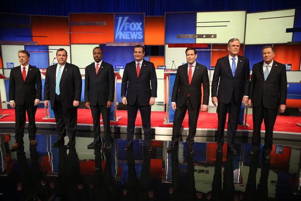 Gov. John Kasich, Jeb Bush, Senator Marco Rubio, Senator Ted Cruz, Ben Carson, Gov. Chris Christie and Senator Rand Paul, at the Fox News/Google Republican debate at the Iowa Events Center in Des Moines.