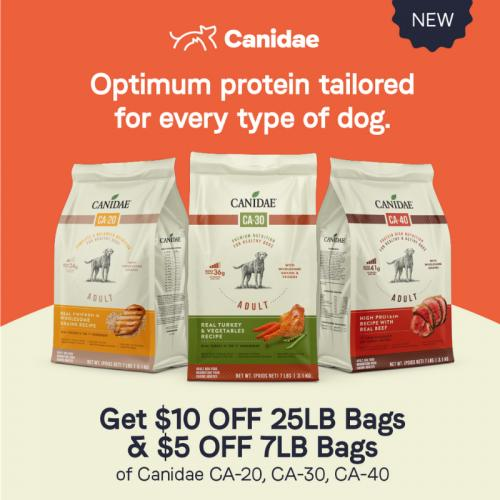 Get $10.00 OFF 25lb Bags and $5.00 OFF 7lb Bags of NEW Canidae CA Dry Dog Food.
