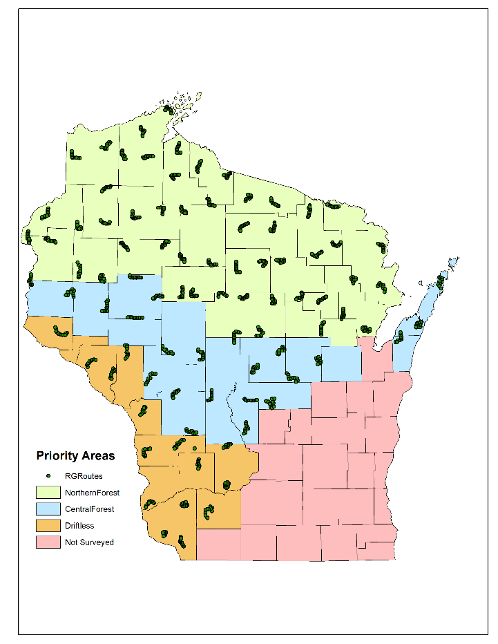 map of ruffed grouse breeding grounds