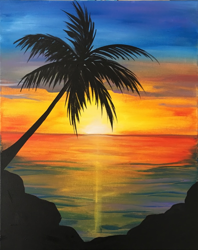 Image result for paint and sip sunset over water
