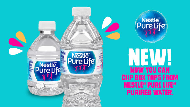 Nestle pure life water new to box tops