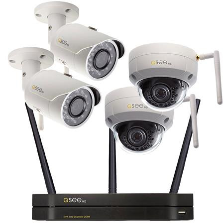 4 Channel Wi-Fi NVR with 1TB Hard Drive, 4x 3MP/1080p Wi-Fi Security Cameras