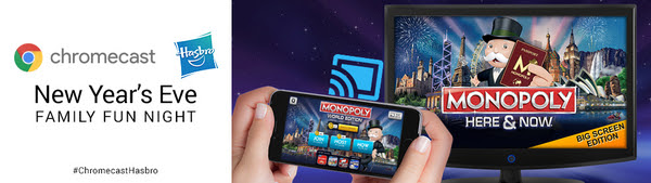 New Year's Eve Family Fun Night with Chromecast and Hasbro Games House Party