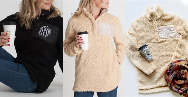 Monogrammed Sherpa Pullover +.