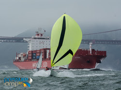 J/70 sailing fast on San Francisco Bay