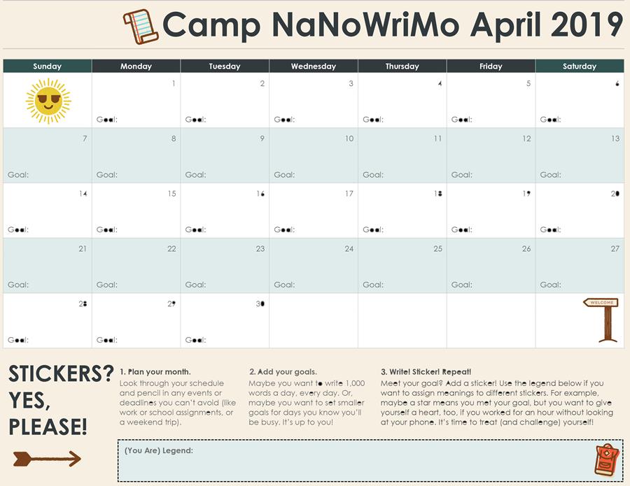 Camp NaNoWriMo Calendar