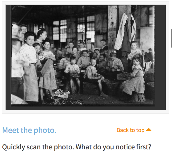Analyzing Documents Tool with Lewis Hine Photograph