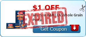 $1.00 off any two BARILLA Whole Grain Pasta