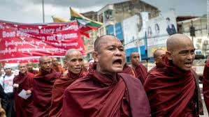 Image result for Pictures of Myanmar Buddhist monks rally on the streets of Mandalay