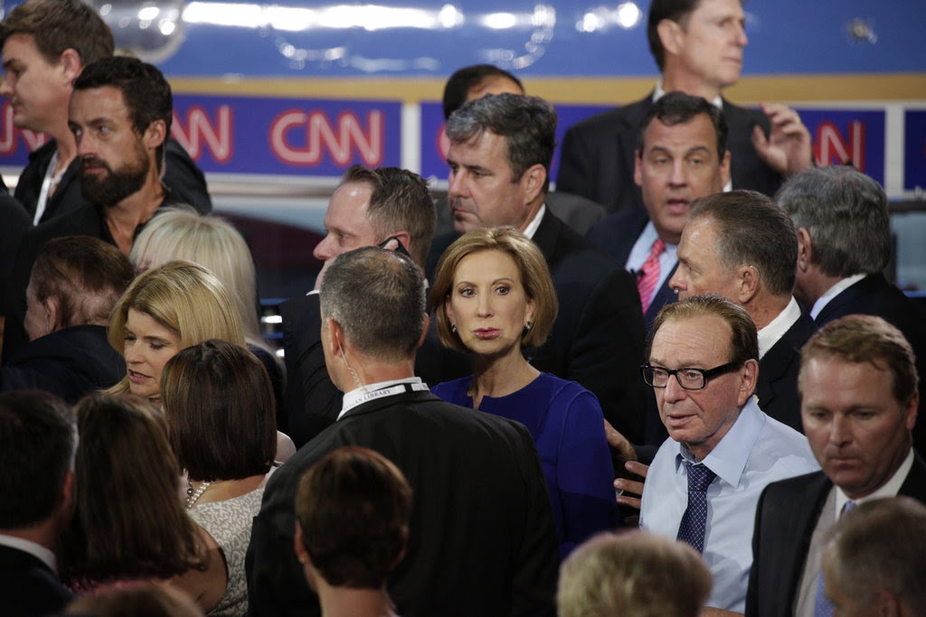 Carly Fiorina, center, after the prime-time Republican debate on Wednesday evening.