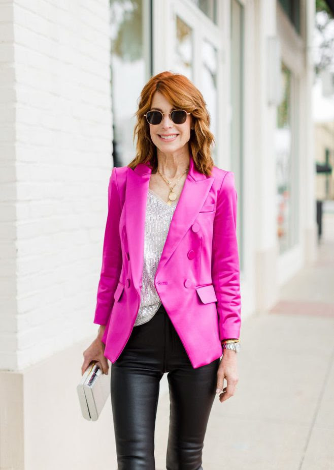 Sequin tank from Shop Avara paired with Pink Blazer by Veronica Beard