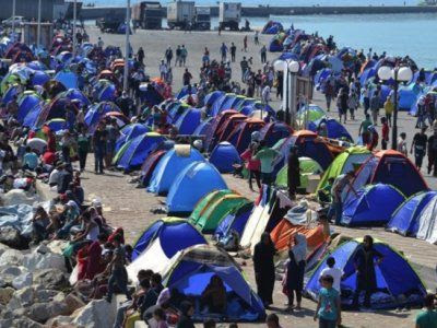 Image result for Refugee camps at Lesbos/Images