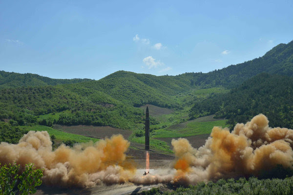 A Hwasong-14missile is test-fired in North Koreaon an unknown date. (Korean Central News Agency via Reuters)</p>