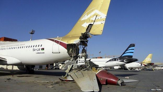 Damaged plane at Tripoli airport. 25 Aug 2014