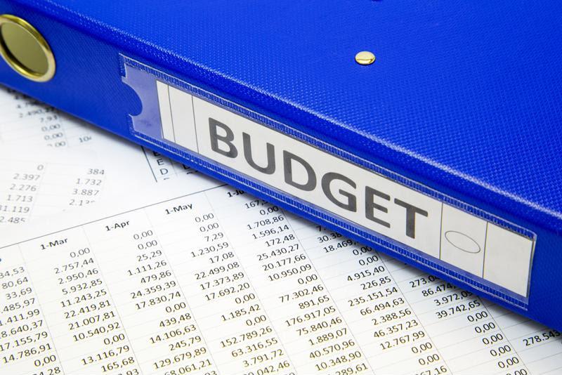 A corporate budget in a binder.