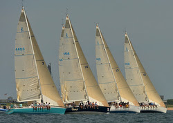 J/44s sailing one-design at Block Island