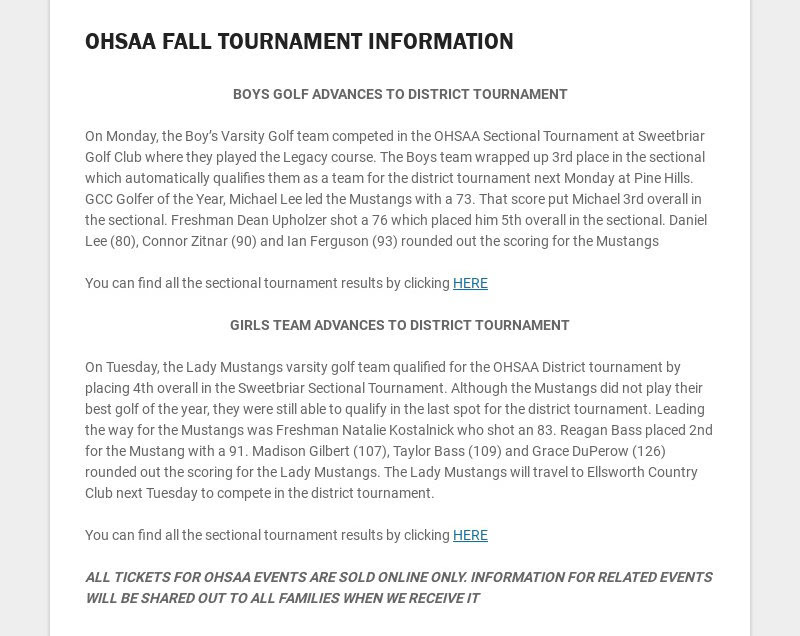 OHSAA FALL TOURNAMENT INFORMATION BOYS GOLF ADVANCES TO DISTRICT TOURNAMENT On Monday, the...