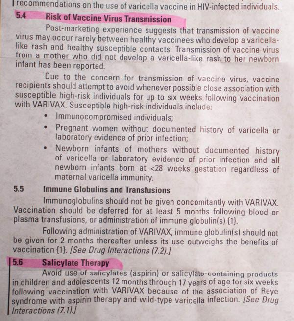 Varivax Vaccine Insert 10 - vacunas preguntas que nunca te permitirán realizar