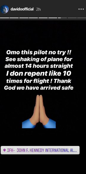 Davido shares about his flight in the US that gave him a big scare