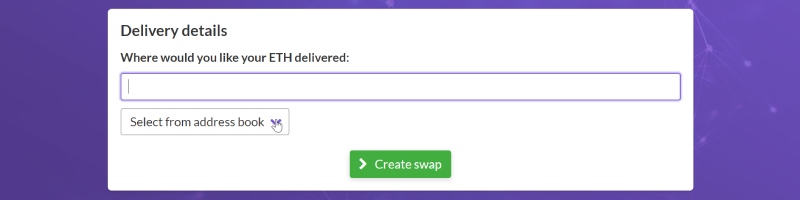 fill the delivery address of crypto swap feature