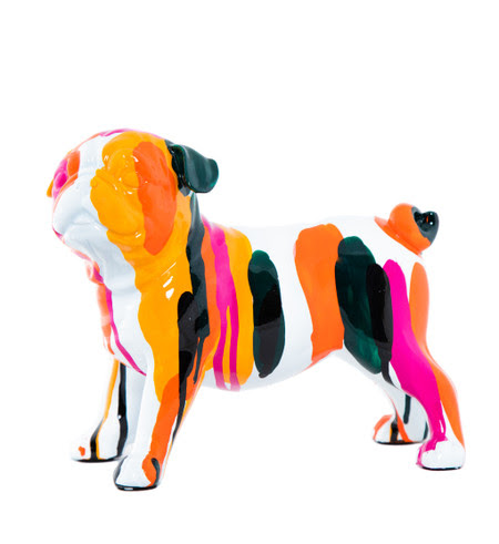 "Interior Illusions Plus Bulldog Rainbow Art Dog - 9"" long"