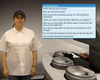Virtual training exercise of simulated interview with food worker.