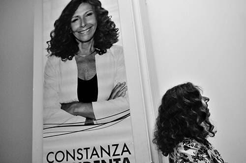 Constanza Moreira, ayer, durante el acto de lanzamiento de campaña de su candidatura para las elecciones internas del FA en el local La huellla de Seregni./ Foto: Javier Calvelo