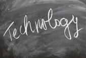 Technology on chalkboard