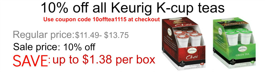 Save 10% on all Keurig K-cup teas