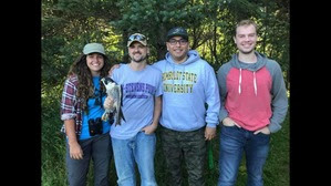 2018 Research Trainees (L to R: Count - Hannah Toutonghi, Banding - Matthew Hanneman, Arthur Sanchez, Zane Den Ouden)