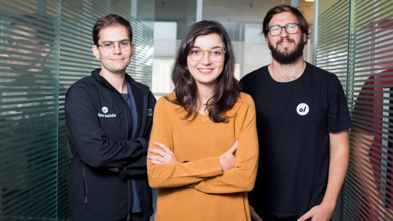 Vinicius Correa, Manuela Mitchell e Thiago Torres, cofundadores da Pipo Saúde (Divulgação)