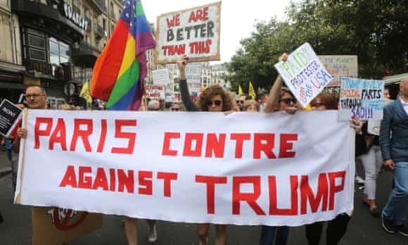 Protesters demonstrate against Trump in Paris