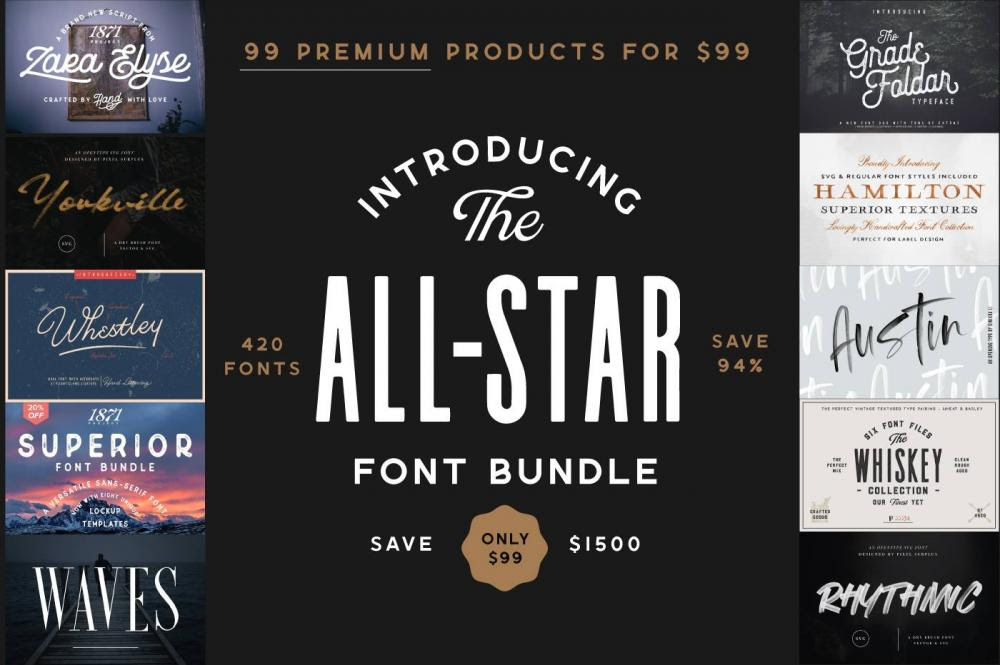 94% Off The All-Star Font Bundle