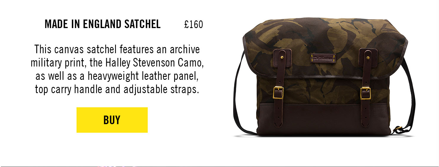 MADE IN ENGLAND CAMO SATCHEL, £160