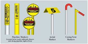 pipeline markers, aerial markers, casing vent markers