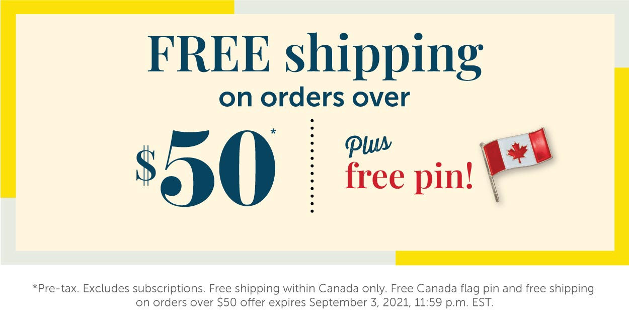 Free shipping and Flag Pin on orders over $50!