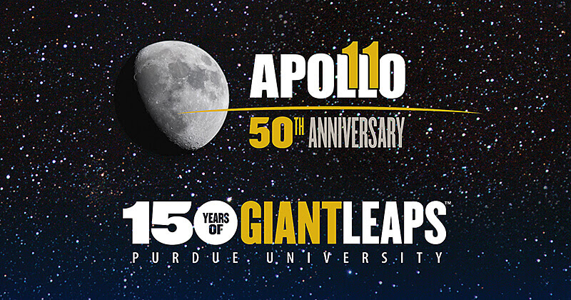 Apollo 11 at Purdue logo moon stars