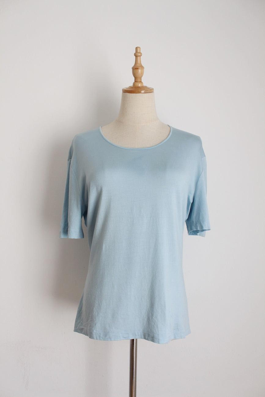 ESCADA BLUE SILK T-SHIRT - SIZE M