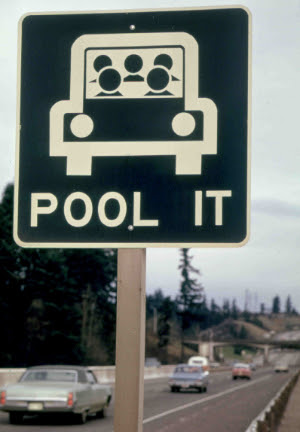 """Road sign that says """"Pool it"""""""