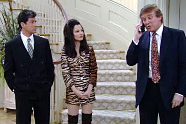 """From left, Charles Shaughnessy, Fran Drescher, and Donald J. Trump on """"The Nanny"""" in the 1990s."""