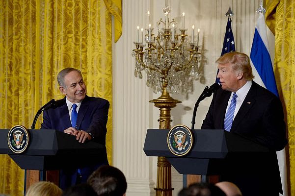 Israeli PM Benjamin Netanyahu and US President Donald Trump at joint news conference in the White House, Feb. 15 2017