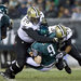 Nick Foles being sacked by Akiem Hicks and Cameron Jordan in the second half, during which the teams scored 37 points.