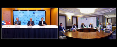 Representatives from SPARK and Hutchison Ports in Khobar and Hong Kong attending the online signing ceremony