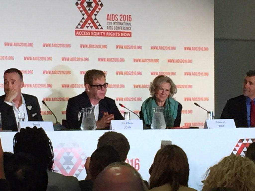 Image of Elton John on panel at AIDS 2016