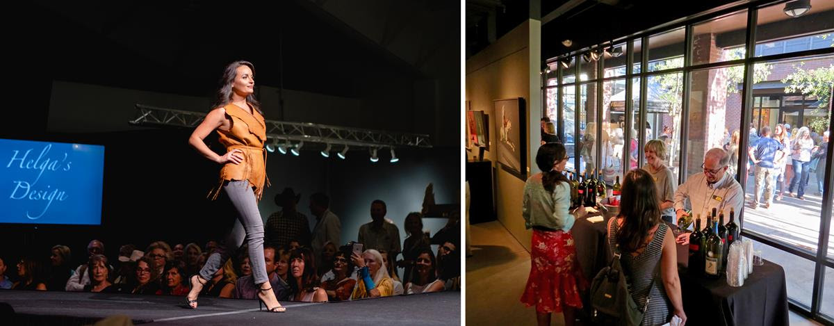 Left to right: The live runway fashion show at the Western Design Conference's Opening Preview Party; crowds fill Jackson galleries and streets during the Palates & Palettes Gallery Walk (Runway photo by New Thought Digital).