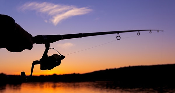 a shadow of a hand holding a fishing pole, set against a dusky orange sky and water