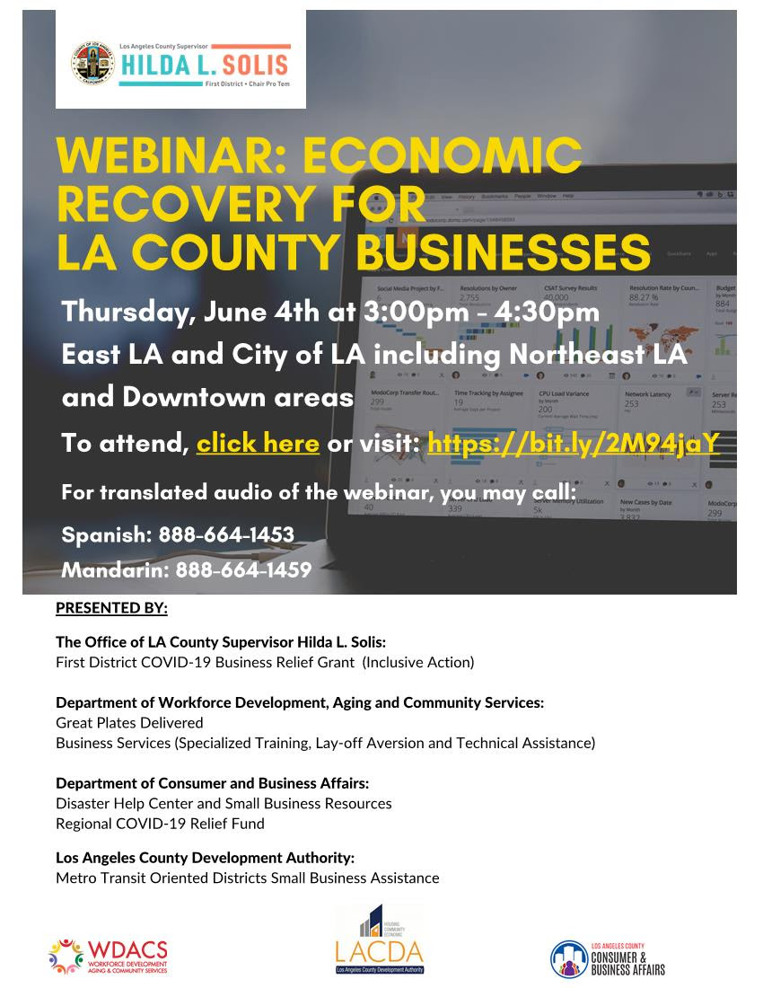 SD 1 Webinar Economic Recovery for LA County Businesses 6-4-2020 3-4.30