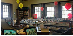 Balloons signifying different funding sources at Manchester-by-the-Sea (Mass.)  Public Library