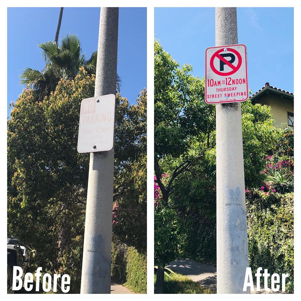 Leo Polliti Neighborhood New Street Sweeping Sign 5-14-2020
