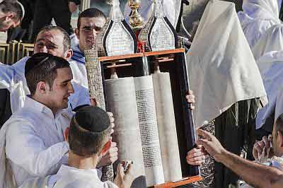 men with torah scroll